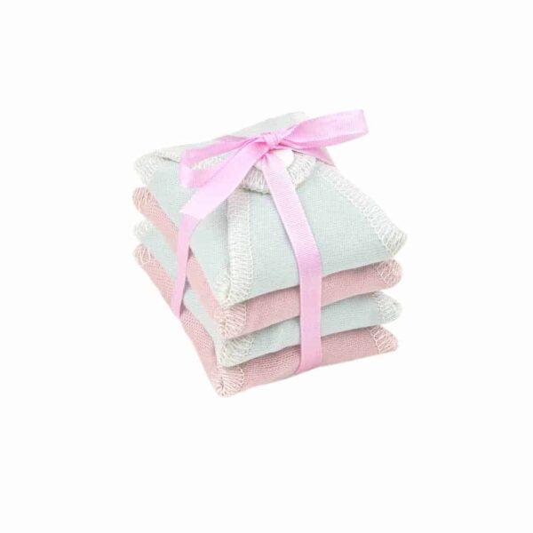 Ella's house inlegkruisje plain zephyr roze, cloud blauw met strik