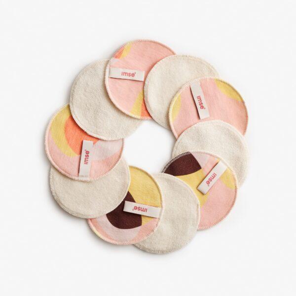 imse wasbare bio katoenen wattenschijfjes set 10 stuks print pink hoop
